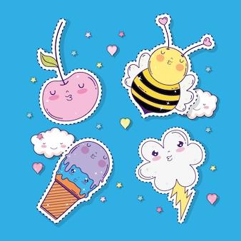 Conjunto de maçãs kawaii com abelha e sorvete com nuvem