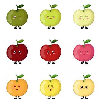 Conjunto de maçãs kawaii de cores diferentes, personagens fofinhos