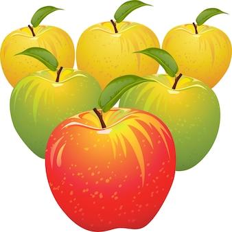 Conjunto de maçãs vermelhas, amarelas, verdes, maduras e suculentas isoladas