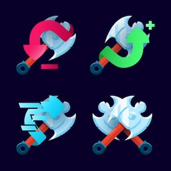 Conjunto de machado, ícone de habilidade para elementos de interface do usuário do jogo