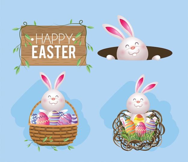 Conjunto de madeira emblema com decoração de coelho e ovos
