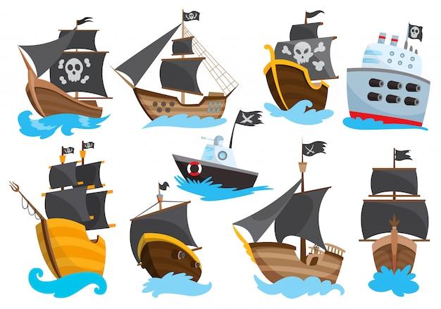 Conjunto de madeira pirata bucaneiro filibuster corsair mar cão navio ícone jogo, isolado design plano. fragata de cor dos desenhos animados.