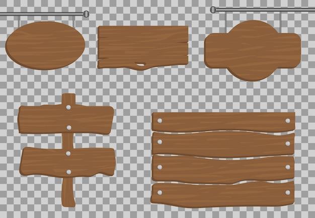 Conjunto de madeira realista, ilustração de tráfego banner, textura da placa