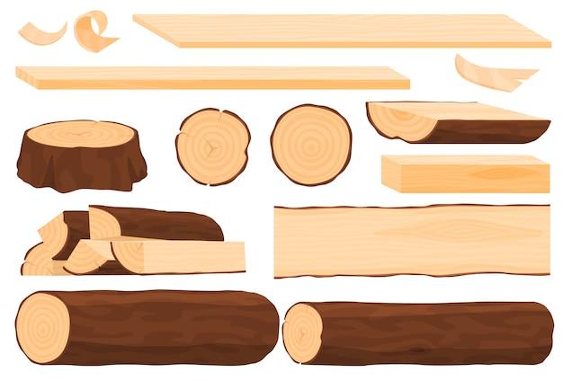Conjunto de madeira, tábuas de madeira, tocos, toras, fatias de madeira.