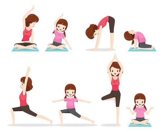 Conjunto de mãe e filha fazendo exercícios de ioga juntas