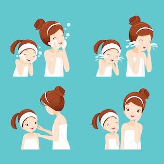 Conjunto de mãe e filha limpando e cuidando do rosto