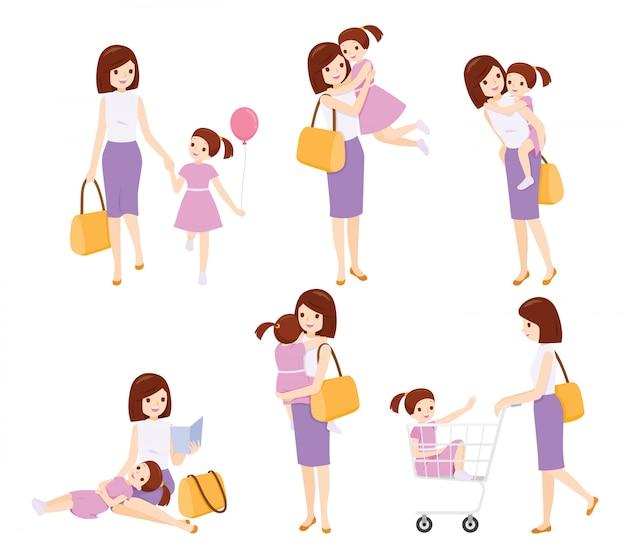 Conjunto de mãe e filha relaxando com muitas atividades juntas