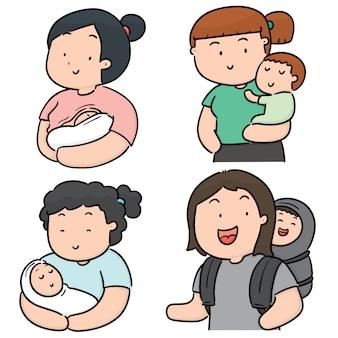 Conjunto de mãe e filhos