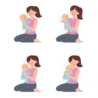 Conjunto de mãe segurando bebê feliz com diferentes ações no estilo cartoon plana
