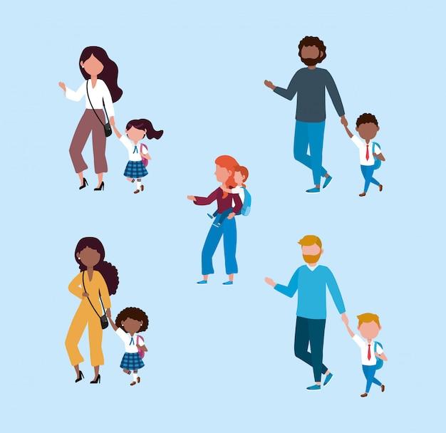 Conjunto de mães e pais com seus alunos meninos e meninas