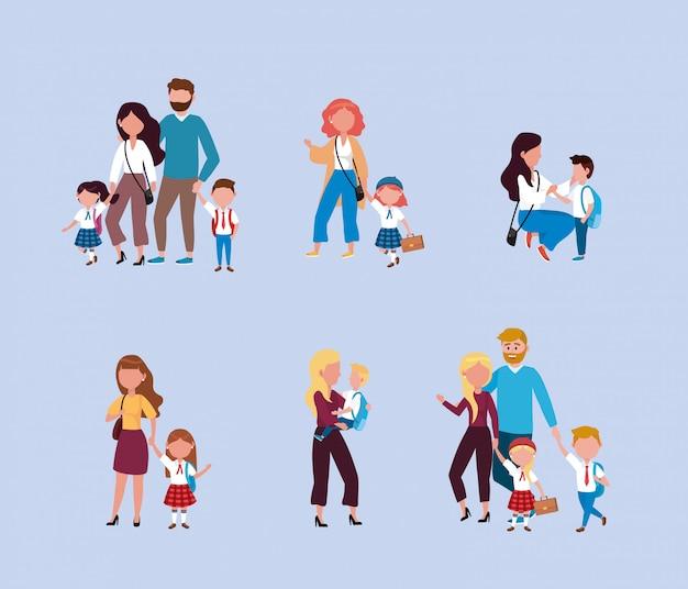 Conjunto de mães e pais com seus filhos meninos e meninas com mochila