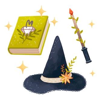 Conjunto de magia com livro de feitiços, chapéu de bruxa, varinha mágica