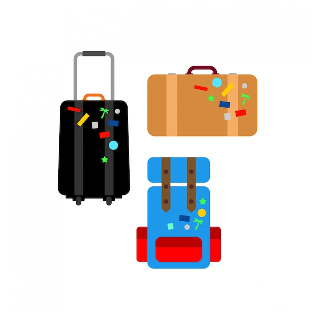 Conjunto de malas de viagem design plano
