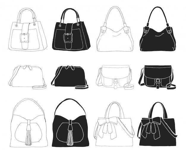 Conjunto de malas diferentes, homens, mulheres e unissex. sacos isolados no fundo branco.