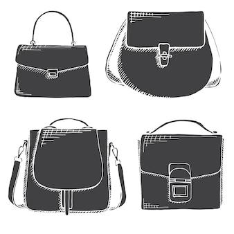 Conjunto de malas diferentes, masculinas, femininas e unissex. sacos isolados no fundo branco. ilustração vetorial no estilo de desenho.