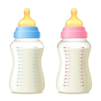 Conjunto de mamadeiras de sucção do bebê