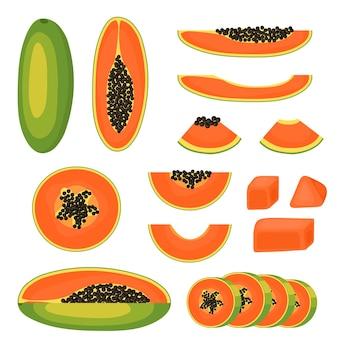 Conjunto de mamão. fatia, pedaço, metade e um close-up inteiro de fruta. fruta madura e suculenta. alimentação e dieta saudáveis. isolado em um fundo branco. ilustração vetorial.