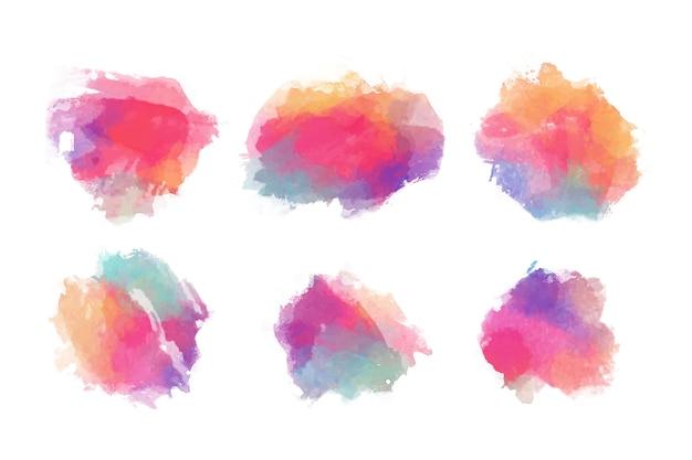 Conjunto de manchas de aquarela colorida