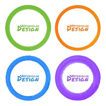 Conjunto de manchas de aquarela coloridas em círculos de grunge, ilustração