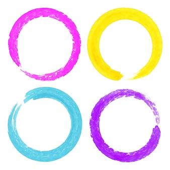 Conjunto de manchas de aquarela coloridas no círculo grunge