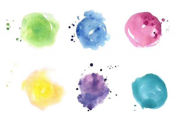 Conjunto de manchas de aquarela. cores pastel