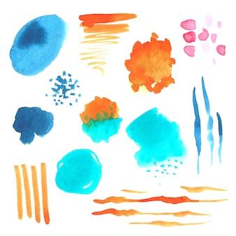 Conjunto de manchas de aquarela de pintados à mão