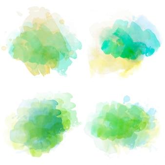Conjunto de manchas de aquarela isolado no fundo branco
