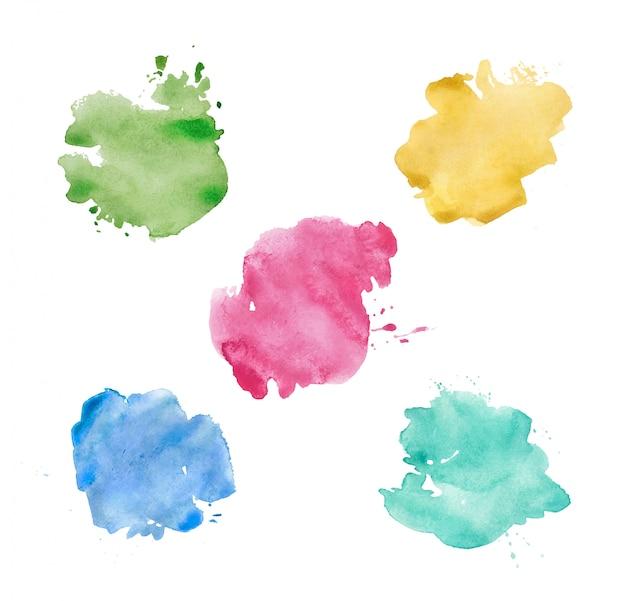 Conjunto de manchas de aquarela. manchas coloridas brilhantes realistas.