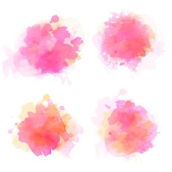 Conjunto de manchas de aquarela