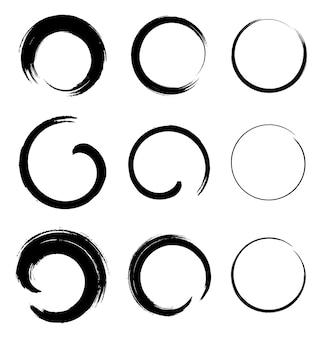 Conjunto de manchas de círculo de grunge, ilustração