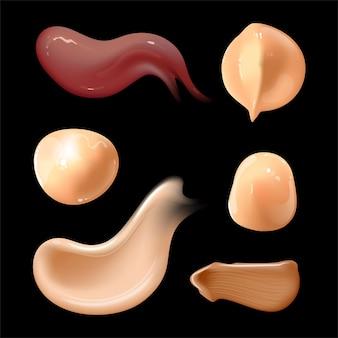 Conjunto de manchas de creme cosmético realistas de diferentes cores corporais