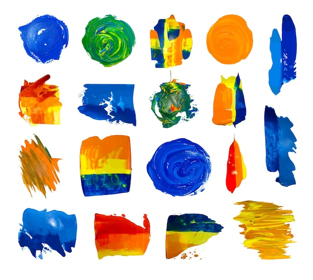Conjunto de manchas de tinta acrílica