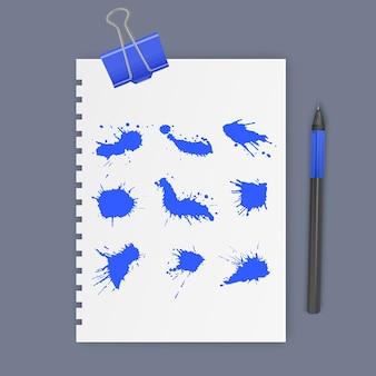 Conjunto de manchas de tinta de cor azul, ilustração vetorial de gotas de tinta