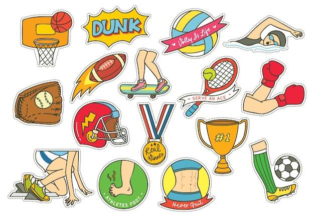 Conjunto de manchas esportivas para esportes com futebol, futebol, bola de basquete etc.