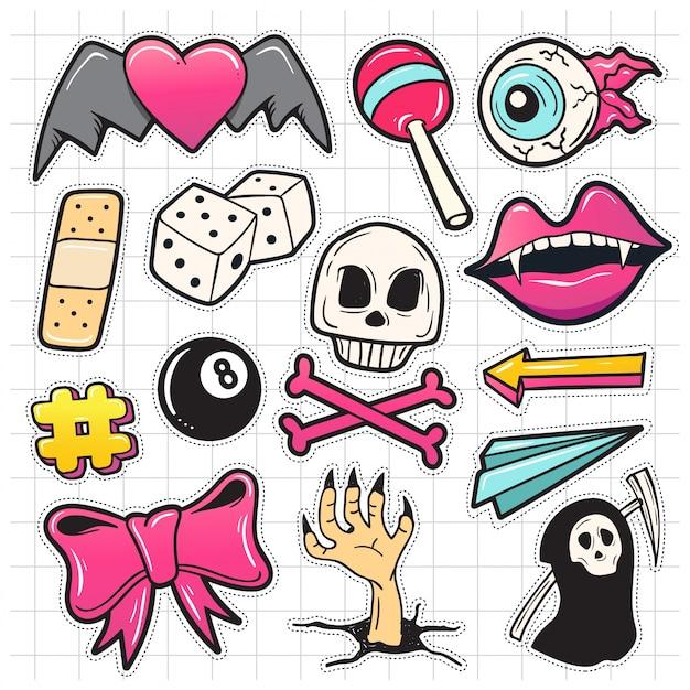Conjunto de manchas fofinhos de moda com lábios, crânio, arco, doces e outros elementos