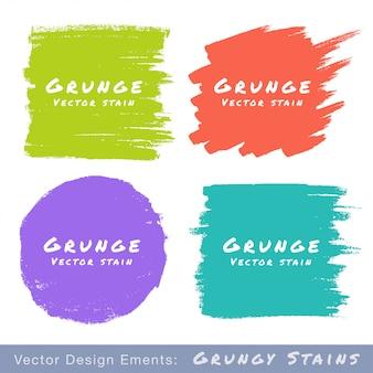 Conjunto de manchas grunge planas desenhadas à mão em branco