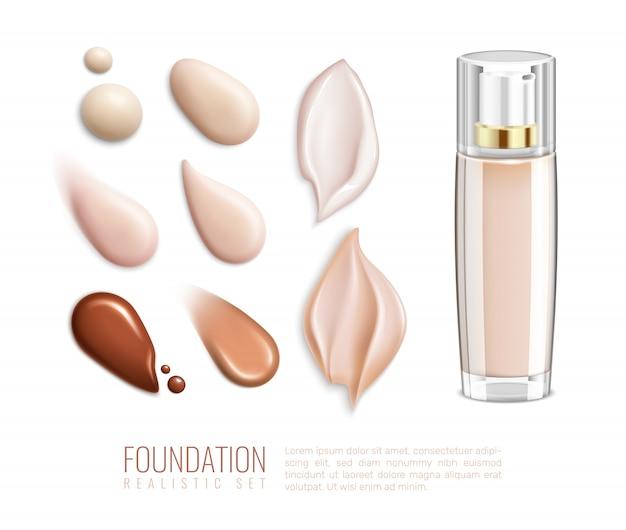 Conjunto de manchas realistas de fundação para diferentes tons e tipos de ilustração vetorial de pele