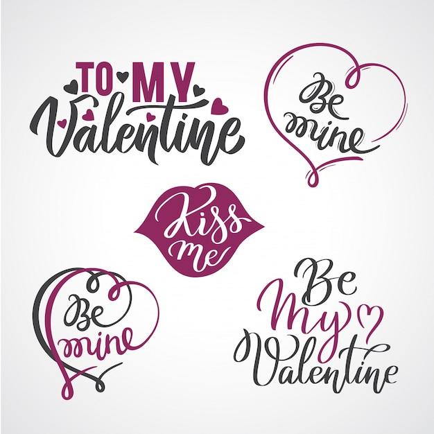 Conjunto de manchetes caligráfico de cartão de dia dos namorados com corações.