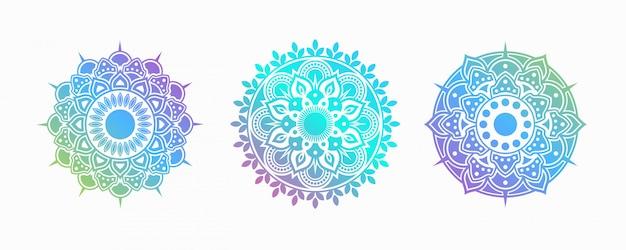Conjunto de mandala colorida. forma decorativa de flor.