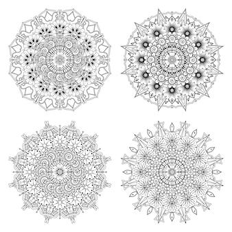 Conjunto de mandala com enfeite de flor mehndi na página de livro para colorir de estilo oriental étnico