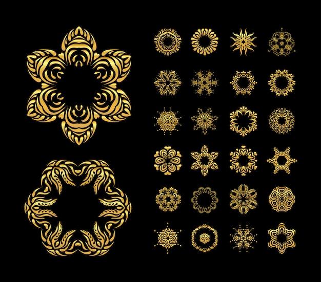 Conjunto de mandala de ouro de vetor
