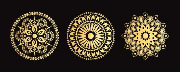 Conjunto de mandala dourada. coleção de flores decorativas