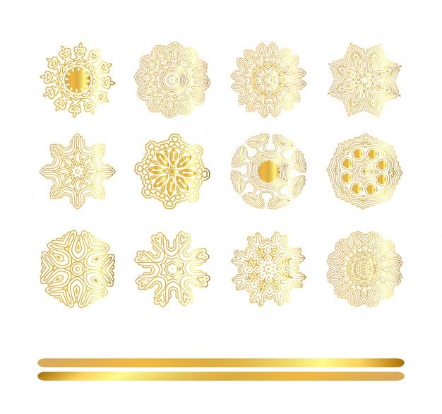 Conjunto de mandala dourada de vetor