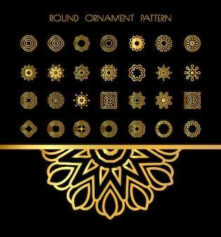 Conjunto de mandala dourada