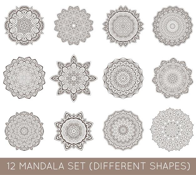 Conjunto de mandala fractal étnica