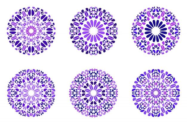 Conjunto de mandala geométrica ornamentado flor abstrata