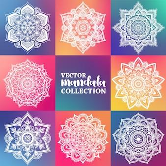 Conjunto de mandala gradiente redondo sobre fundo colorido. mandala de hipster de vetor nas cores verdes, vermelhas, azuis, violetas e rosa. mandala com padrões florais. modelo de ioga.