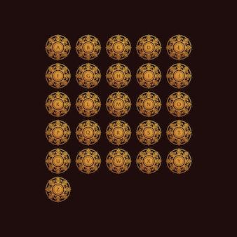 Conjunto de mandala logotipo gradiente coleção