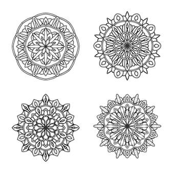 Conjunto de mandala preto e branco