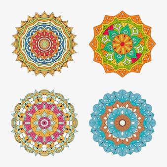 Conjunto de mandalas coloridas